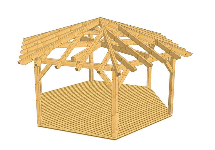 Holz Pavillon 6 Eckig Bauanleitung ~ Pavillons & Gartenhäuser
